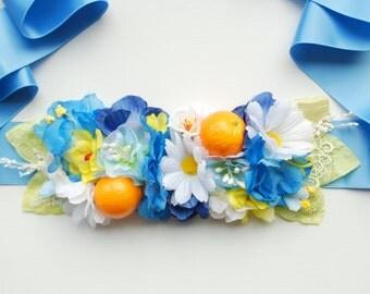 Blue Yellow Orange Bridal Flower Sash, Bridal Headband, Blue Weddings Hair Accessory, Maternity Belt, Orange Tangerine, White Daisies