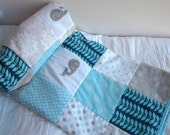 Turquoise and Gray Nautical Baby Quilt, Turquoise Whale Nursery Quilt, Turquoise and Gray Crib Quilt, Nautical Nursery Bedding