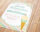 Ice Cream Printable Invitation - Birthday, Bridal Shower, Baby Shower