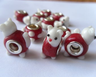 5 Kitty Cat Kitten Lampwork Glass Euro Beads 21x10mm   -E5G-2