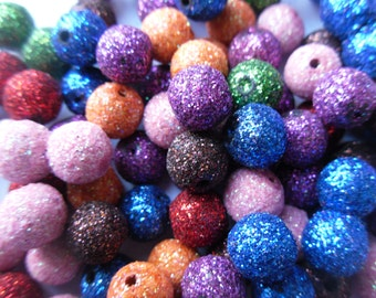 100 10mm Mixed Color Stardust Glitter Beads (See Note in Description)
