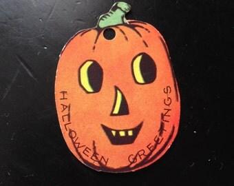 Antique Halloween Jack O Lantern Gift Tag Party Favor Collectible Halloween Decor Pumpkin Display