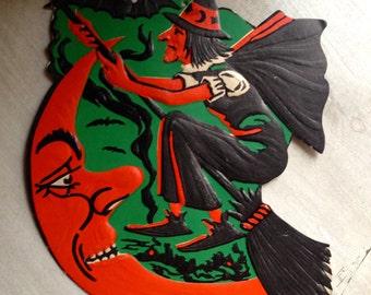 Vintage Halloween Flying Witch Over Man in the Moon Beistle Embossed Die Cut 1940s Halloween Decor Display