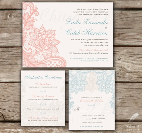 lace wedding invitation 3 piece suite printed or With 3 piece wedding invitations