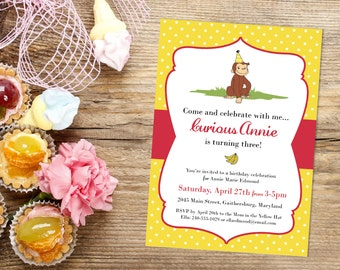 Curious George Monkey Birthday Party Personalized Modern Printable Invitation, with RSVP to Mom in the Yellow Hat - with Polka Dots