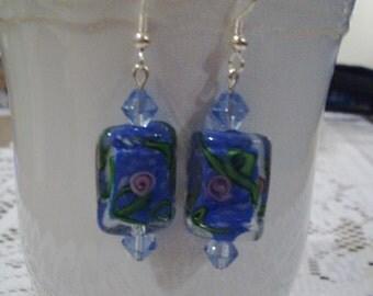 Blue flowered glass earrings