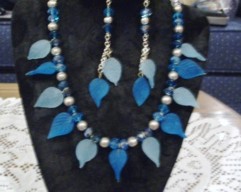 Turquoise Blue Leaf Necklace with free earrings