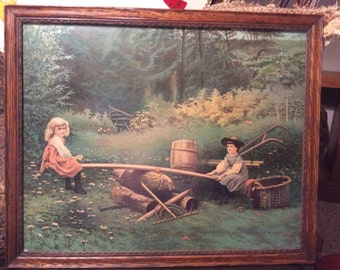 "Vintage Litho Print James Lee Company ""SeeSaw"" Very Nice"
