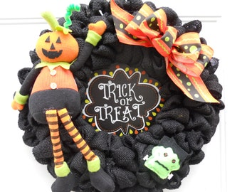 Halloween Black Burlap Trick or Treat Door Wreath Super Cute and Ready to Ship