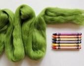 MERINO WOOL TOP - Kiwi Green (approximately 1 oz) - for needle felting, wet felting, nuno felting or spinning