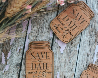 Custom Engraved Save the Date Magnet, Mason Jar Wood Magnet Invitation, Wedding Favor Magnet, Wood Invitation