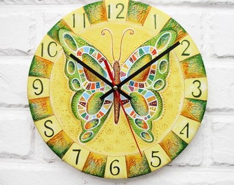 The Green Butterfly Wall Clock, Home Decor for Children Baby Kid Girl, wall clocks handmade, natural wood,kids gift, Kitchen style.