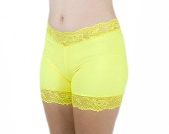 Spandex Biker Shorts No Chafe Yellow Lace Tap Pants