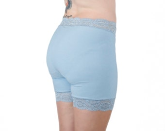 Light Blue Biker Shorts Lace Underwear Shorts