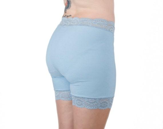 Light Blue Biker Shorts Lace Underwear Shorts Anti Chafing