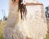 Ready to Ship Customizable Wedding Organic Hemp Cotton and Silk Antique Doiley Boho Wedding Dress
