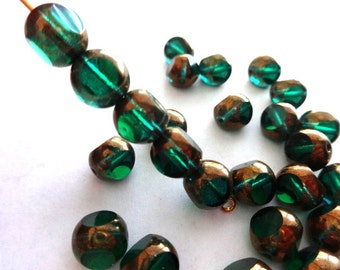 8 mm Czech Zircon and Bronze 3-Cut Glass Beads