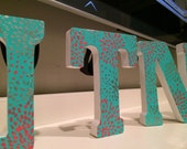 Hand painted wooden letters- wooden initial letters- custom designed letters