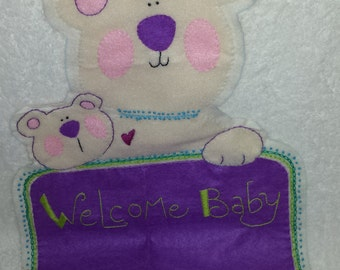 Felt Hand-Appliqued and Embroidered Birth Announcement