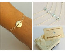 Free Shipping. Set of 4 sterling silver disc bracelet. Bridesmaids set. Bridesmaids jewelry.
