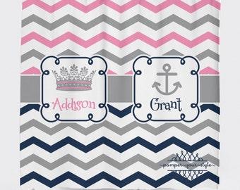 Princess and Anchor Shower Curtain - Chevron Shower Curtain - Jack and Jill Shower Curtain - Sibling Shower Curtain
