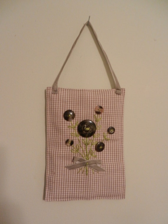 Brown and cream Casein Button Flower, embroidered stem and leaves mini wall hanging