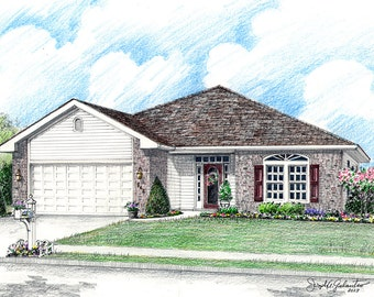 Custom Home Portrait- 5x7 Full Color Original Your My Home Sketch Drawing Christmas Birthday First Home Anniv Wedd Closing Gifts