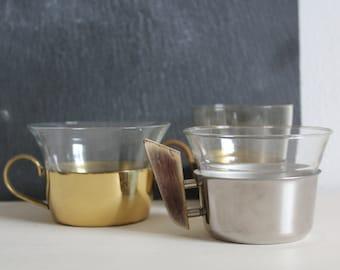 SALE 50 OFF Vintage Glass Tea Cups Trio Mix Gold Silver Mid Century Home Decor Hein Matten