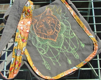 Neon Wolf Medallion Cross-Body Messenger Bag Boho Machine Embroidery Eco Friendly Upcycled Cargo Pants Lots of Pockets
