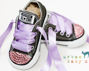 Infant, Toddler Low Top Baby Girl Grey Converse® All Star® Chuck Taylor's® With Purple Ribbon Laces & Pink Swarovski® Rhinestones