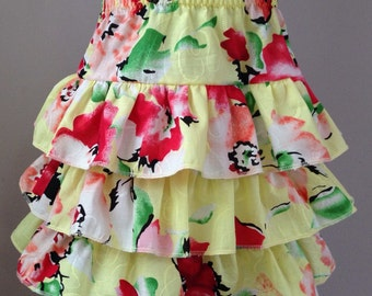 Size 4T/5T......Yellow Flower Print Ruffle Skirt....Made and ready to be shipped!!