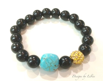 Statement Black Beaded Bracelet with Turquoise Stone and Gold Pave Rhinestone Ball