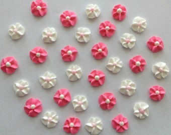 Hot Pink and White Royal Icing Flowers (100)