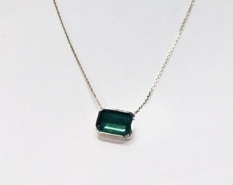 1 Carat Natural Green Emerald 14k Gold Necklace