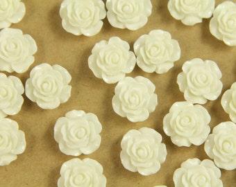 20 pc. White Glossy Crisp Petal Rose Cabochon 14mm | RES-400