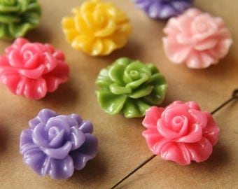 10 pc. Large Glossy Flower Beads 19mm by 11.5mm | RES-464