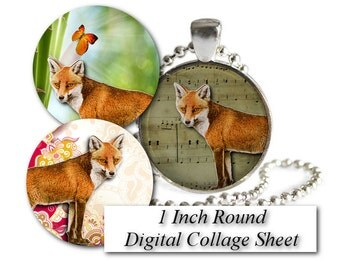 Fox 1 Inch round Circle image Foxes Bottle cap sheet Digital Collage sheet for pendants