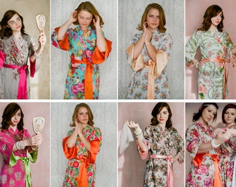 8 custom knee length Angel Sleeve robes or dressing gowns. Bridal party robes, bridesmaids robes, bridal robes.