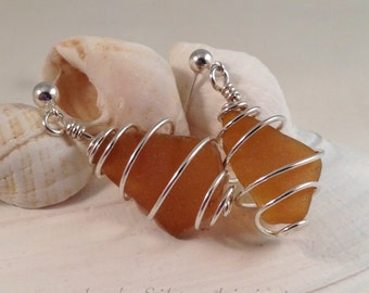 Authentic Sea Glass Earrings, Brown Beach Glass Sterling Silver Wire Wrapped, Post Earrings, Beach Jewelry, Summer Jewelry