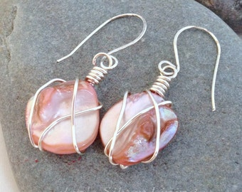 Pink Blister Pearl Earrings, Silver Wire Wrapped, On Handcrafted Artisan Ear Wires, Asymetrical Funky Jewelry