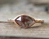 Cognac Brown Marquise Rose Cut Diamond  Bezel Ring in 14K  Rose Gold