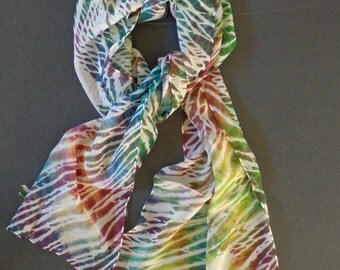 Multicolored Shibori Painted Silk Crepe Scarf