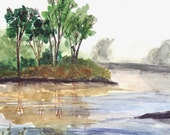 "Landscape By The Lake - Original Water color painting, Ready to Frame, Frame Size 16""X20"","