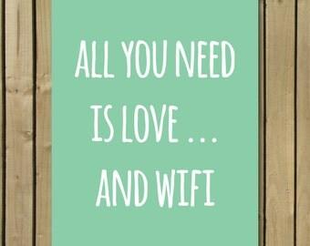 all you need digital printable wall decor, printable art, funny quote print, funny quote art, typographic print, Christmas gift, mint poster