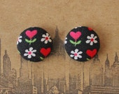 Wholesale Button Earrings / Hearts / Fabric Covered / Bulk Jewelry / Made in NYC / Gifts for Her / Party Favors / Discount for Resale