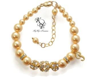 Personalized Baby Bracelet, Gold Baby Bracelet, Baptism Gift, Little Girl Jewelry, Keepsake Bracelet, Initial Bracelet, New Baby Gift