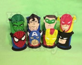 8 Super Hero Foam Centerpieces