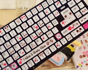 1 Sheet Luminous 3D Epoxy Keyboard Sticker - Keyboard Decals - Sticker - Lovely Face Style