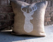 Deer Head Pillow Burlap- Antlers Pillow- Deer Silhouette- Hunting Pillow- Buck Pillow- Rustic Decor- Winter Decor- Decorative Pillow