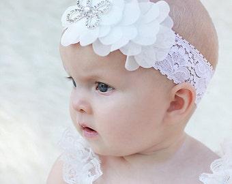 White Lace Headband, Lace baby Headband, Newborn Baby Headband, Flower Headband, Swarovski Headband, Photo Prop